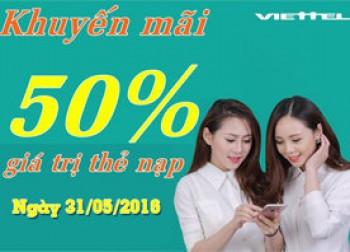 Từ ngày 15/8:Viettel khuyến mãi 50% giá trị thẻ nạp